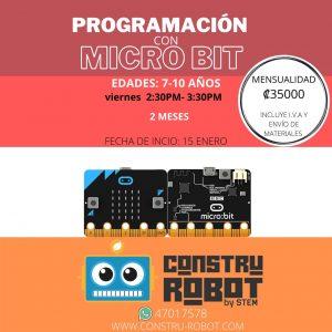 Curso de Programación con Microbit (7-10 años) 2 meses pago por mes
